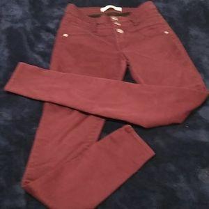 Super Skinny Maroon Mom Jeans